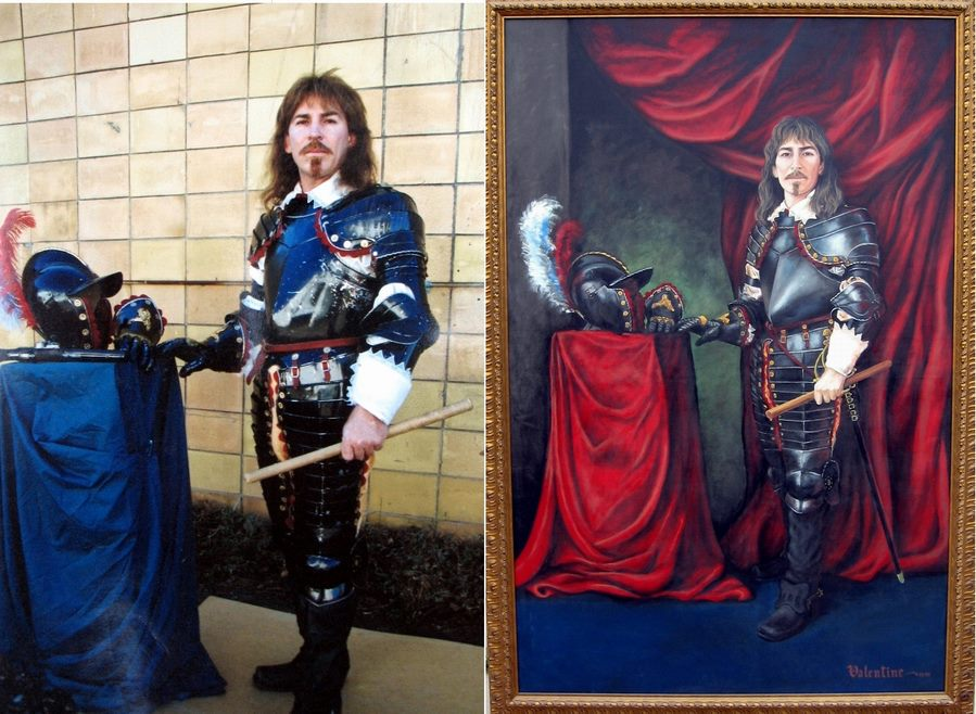Rob standing beside his life sized self portrait wearing the armour he also created